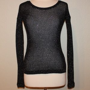Express Black Silver Sparkle Long Sweater Top XS